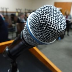 Microphone on a podium at a meeting