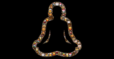 Silhouette of person meditating with images of junk food surrounding them