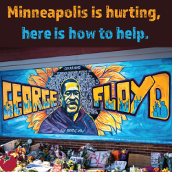 mural of George Floyd on a building wall in Minneapolis near the site of his murder