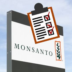 sign of Monsantos logo against a cloudy sky with a checklist graphic