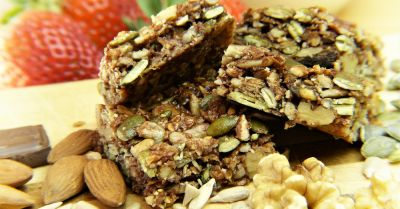 granola bar with nuts seeds and fruit
