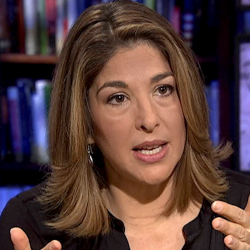 Naomi Klein author of the book THE SHOCK DOCTRINE THE RISE OF DISASTER CAPITALISM