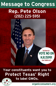 Rep. Pete Olson from TX DARK Act Poster