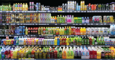 Beverages at a store.