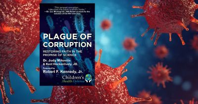 cover of the book PLAGUE OF CORRUPTION by Judy Mikovits among a rendering of corona virus cells