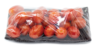 tomatoes wrapped in plastic.