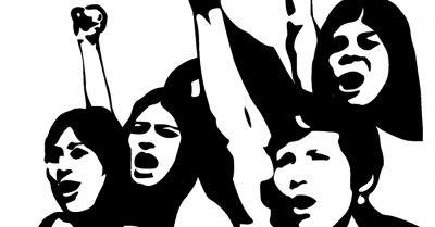 women protesting with fists in the air