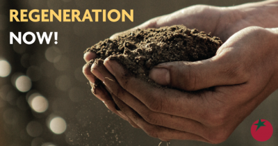 """Hands holding soil with the words """"Regeneration Now!"""""""