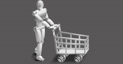 robot with artificial intelligence pushing a shopping cart