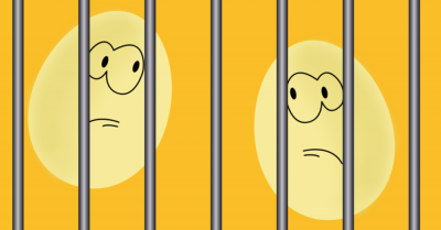 Two rotten eggs with angry faces in jail