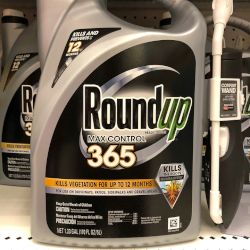 silver and black bottle of Monsantos glyphosate herbicide ROUNDUP on a store shelf
