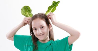girl with salad leaves