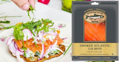 packaging for Ducktrap River of Maine smoke salmon beside a salmon appetizer