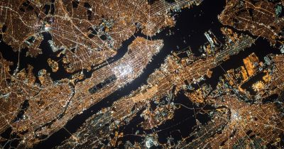 Aerial view of NYC at night
