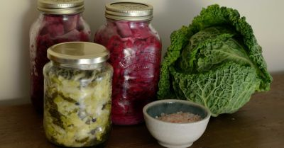 Lineup of fermented foods such as sauerkraut and kimchi