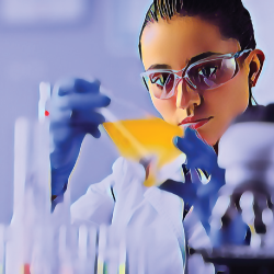 scientist in a laboratory doing research with a beaker