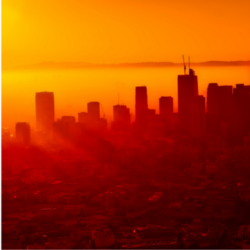 sunrise and smog over Los Angeles