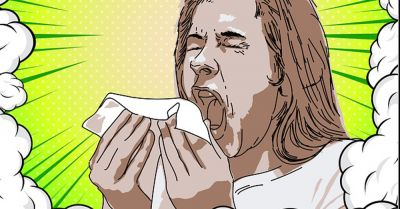 clipart of sick woman sneezing into a tissue