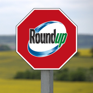 Roundup logo on a stop sign