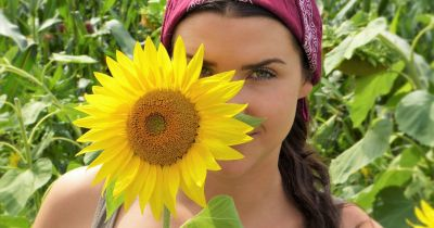 farmer with sunflower and crops