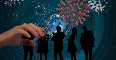 silhouette of five people in front of a camera lens with an overlay of a syringe going into a coronavirus