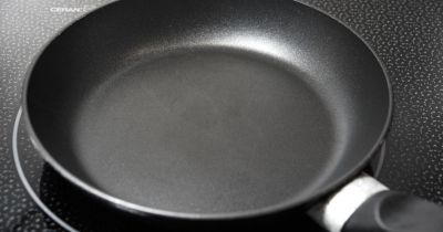 Close-up view of nonstick cooking pan