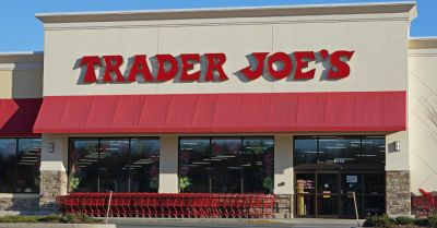 Trader Joes storefront with red shopping carts