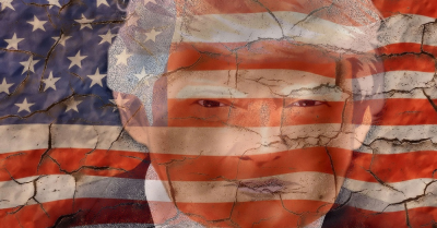 Donald Trumps face in front of the American Flag
