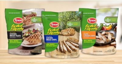 bags of Tyson brand pre cooked chicken breast strips