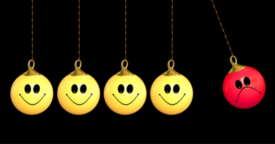 several yellow happy faces in a row with a red unhappy face