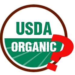 USDA Organic logo with a red question mark