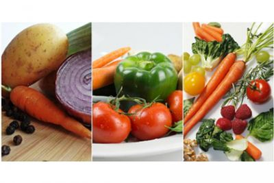 Colorful vegetable produce collage