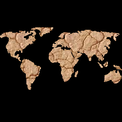 Map of the world showing dry cracked drought stricken earth