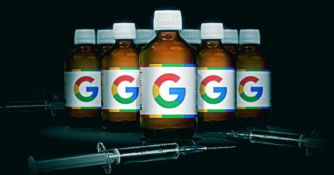 Pill bottles with Google logo on them and medical needles on the ground