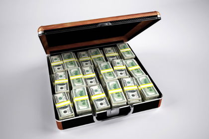 Briefcase filled with money