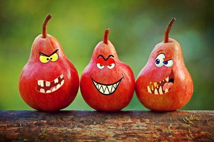 Set of three pears with evil faces