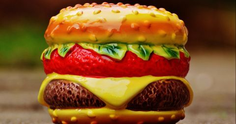 plastic toy cheeseburger