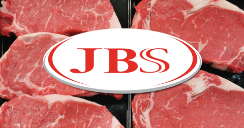 JBS Foods USA logo over cuts of raw beef