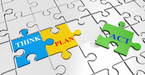 "puzzle pieces with words ""think,"" ""plan,"" and ""act"""