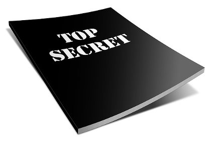 "Black file with ""top secret"" on the cover"